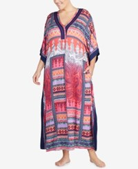 Ellen Tracy Plus Size Printed Contrast Trim Caftan Orange Multi