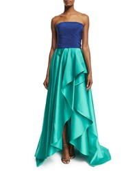 Monique Lhuillier Strapless Bicolor Faille Gown Navy Aqua Navy Blue Size 16
