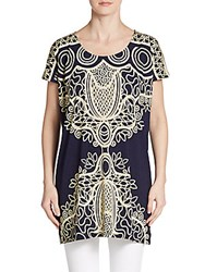 Saks Fifth Avenue Printed Tunic Navy Ivory