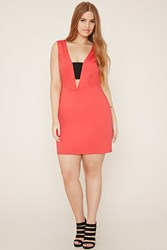 Forever 21 Plus Size Cutout Bodycon Dress Red Black