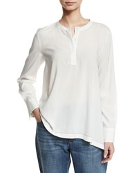 Brunello Cucinelli Collarless Stretch Silk Blouse White