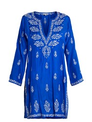 Juliet Dunn Sequin Embellished Silk Kaftan Blue