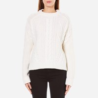 Carven Women's Cable Knit Cropped Jumper Cream