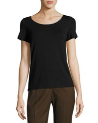 Lafayette 148 New York Scoop Neck Short Sleeve Tee Black