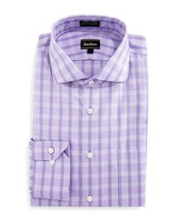 Neiman Marcus Classic Fit Wrinkle Free Oxford Check Dress Shirt Purple