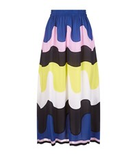 Emilio Pucci Wave Print Georgette Midi Skirt Female Blue