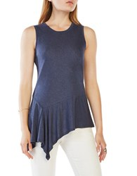 Bcbgmaxazria Cari Asymmetrical Jersey Tank Heather Navy