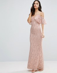 Jessica Wright Off The Shoulder Lace Maxi Dress Cream