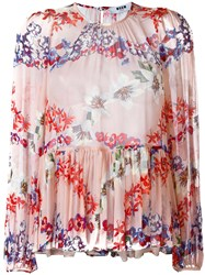 Msgm Floral Print Ruffled Blouse Pink