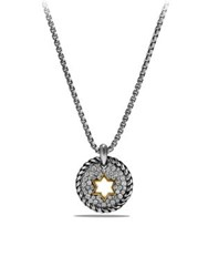 David Yurman Cable Collectibles Star Of David Charm Necklace With Diamonds And 18K Gold Silver Gold