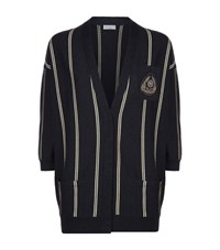 Brunello Cucinelli Striped Cashmere Cardigan Female Blue