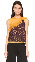 Msgm Lace Ruffle Top Plum Yellow