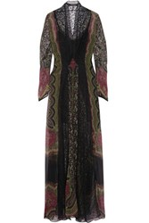 Etro Lace Paneled Printed Crinkled Silk Gown Black