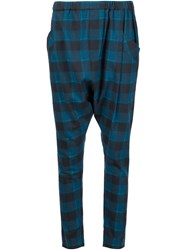 Baja East Checked Harem Trousers Blue