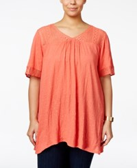 Eyeshadow Plus Size Textured Lace Trim Top