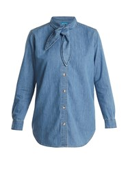 Mih Jeans Booker Neck Tie Cotton Denim Shirt Mid Blue
