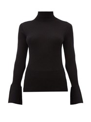 Proenza Schouler Split Cuff Silk Blend Roll Neck Sweater Black