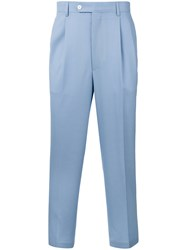 Lc23 Cropped Trousers Men Wool 44 Blue