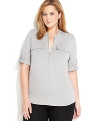 Calvin Klein Plus Size Roll Tab Sleeve Zip Front Shirt