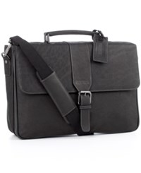 Kenneth Cole Reaction Columbian Leather Double Gusset Laptop Briefcase Grey