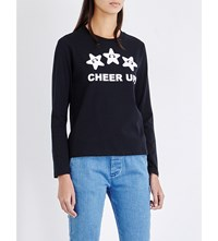 Mini Cream Cheer Up Cotton Jersey Sweatshirt Black