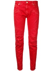 Balmain Pierre Skinny Cropped Jeans Red