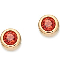 Astley Clarke Mini Stilla 14Ct Yellow Gold Plated And Red Garnet Stud Earrings Yellow Vermeil