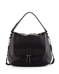 Neiman Marcus Hip Zip Top Faux Leather Hobo Bag Black
