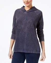 Style And Co Embroidered Hoodie Created For Macy's Lotus Lover Blue