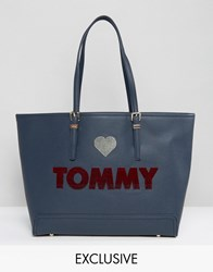 Tommy Hilfiger Ew Embroidered Tote Bag Midnight Navy