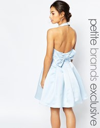 True Decadence Petite Halterneck Prom Dress With Bow Back Blue