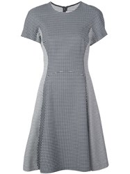 Lela Rose Micro Check Flared Dress Black