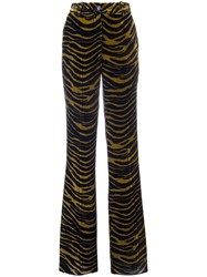 Roberto Cavalli Tiger Print Flared Pants Black