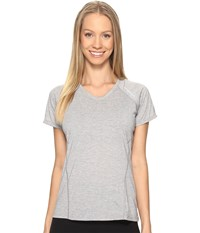 Brooks Distance Short Sleeve Heather Sterling Women's Clothing White