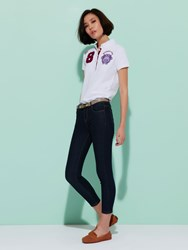Shanghai Tang Cotton '8' Floral Embroidery Polo Shirt White