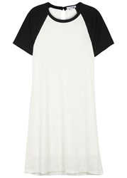 James Perse White Slubbed Jersey T Shirt Dress White And Black