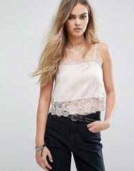 Pull And Bear Lace Detail Cami Top Pink