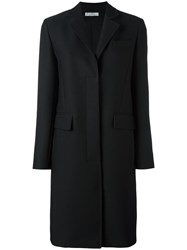 Versace Long Concealed Fastening Coat Black