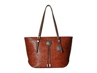 American West Dallas Zip Top Tote Sunset Orange Tote Handbags Black