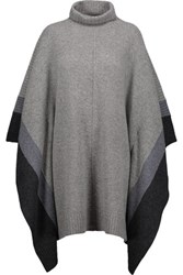 Chinti And Parker Striped Wool Poncho Gray
