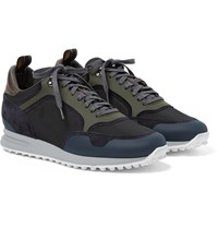 Dunhill Radial Runner Leather And Suede Trimmed Mesh Sneakers Blue