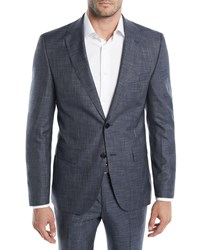 Boss Melange Wool Silk Two Piece Suit Charcoal