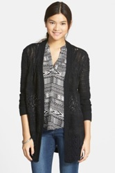 Sun And Shadow Lace Inset Cable Knit Open Cardigan Juniors Black