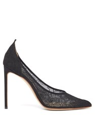 Francesco Russo Point Toe Silk Lace Pumps Black