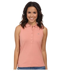 Lacoste Sleeveless Slim Fit Stretch Pique Polo Shirt Trianon Pink Women's Short Sleeve Knit Orange
