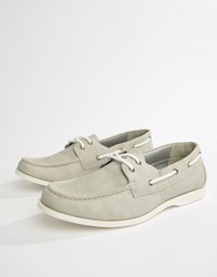 New Look Faux Suede Boat Shoes In Light Grey Light Grey
