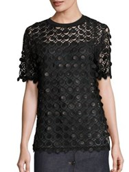 Carven Embroidered Circle Tee Black