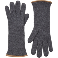 Barneys New York Double Knit Gloves Gray
