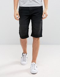 Solid Denim Shorts In Washed Black 9010