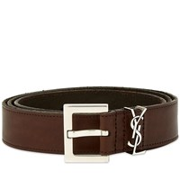 Saint Laurent Ysl Leather Belt Brown